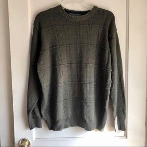 Oscar De La Renta Green Knit Crew Neck Sweater